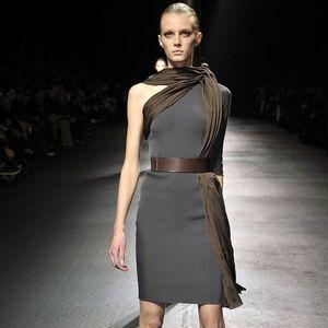 Lanvin Dresses - LANVIN Runway Stretchy Gray Silk Top Detail Dress